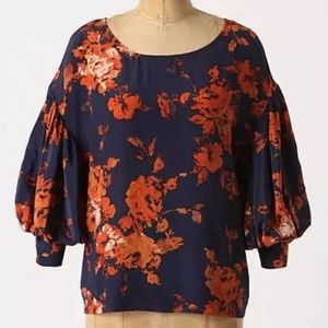 Anthro Odille Phlox Navy Floral Silk Blouse